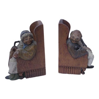 Vintage Anri Old Couple Bookends - A Pair For Sale