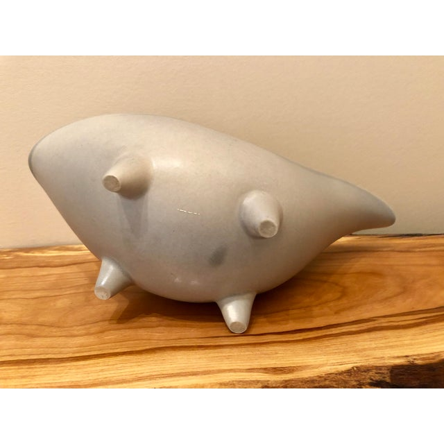 Mid-Century Modern Gray Footed Ceramic Planter For Sale - Image 4 of 9