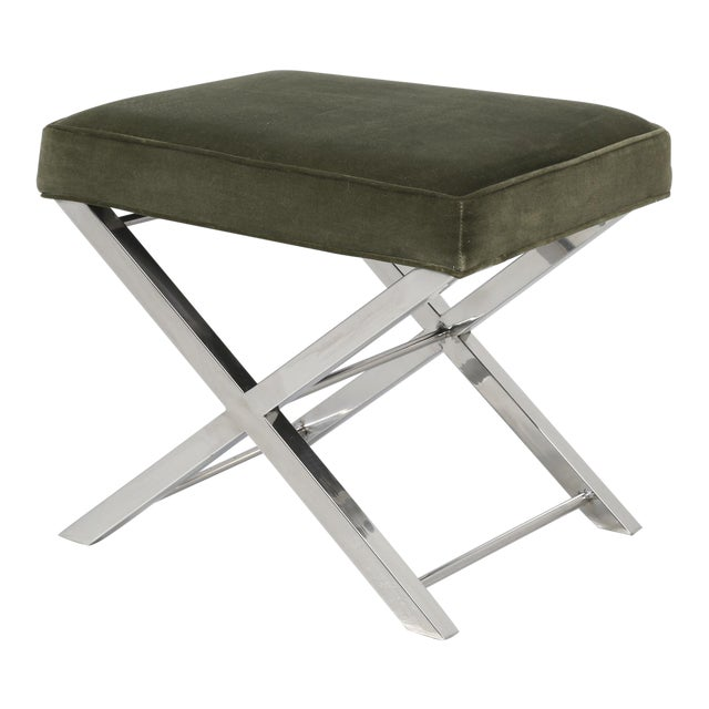 Modern Chrome Stool With Classic X-Style Frame For Sale