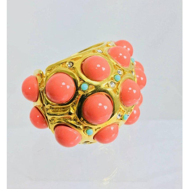 Contemporary Kenneth J Lane Faux Coral Turquoise Rhinestone Gold Clamp Cuffs Bracelet For Sale - Image 3 of 8
