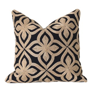 Embroidered Kuba Cloth Style Pillow Cover - 16x16 For Sale