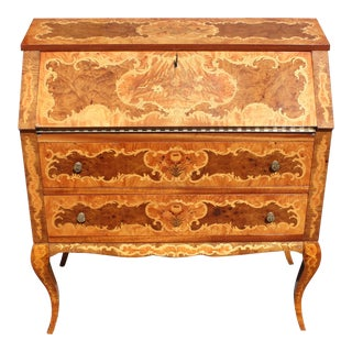 1950s Italian Louis XV Style Luxury Secretary Desk For Sale
