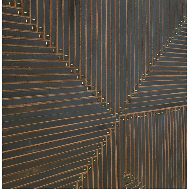 Contemporary Michelle Peterson-Albandoz Mixed Media Contemporary Leather Panels - a Pair For Sale - Image 3 of 6