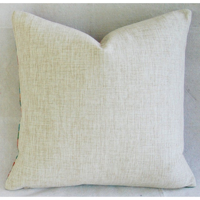 "Asian Spring Bouquet Linen Feather/Down Accent Pillow 17"" Square For Sale - Image 3 of 5"