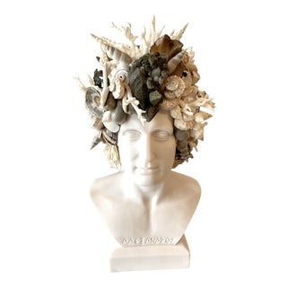 """""""Alexander the Great"""" Contemporary Bust with Shells and Mixed-Media For Sale"""