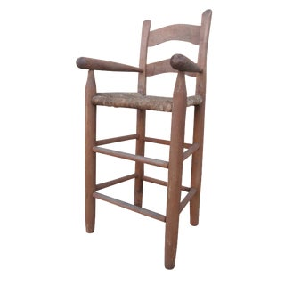 Antique Folk Art Handmade Child's High Chair With Rush Seat For Sale