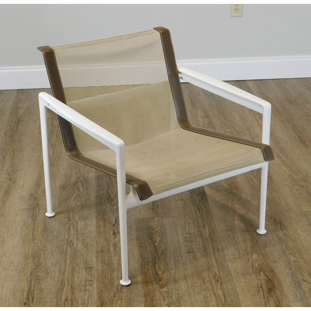High Quality American Made Aluminum Frame Painted Armchair with Woven Mesh Seat Designed by Richard Schultz for Knoll...
