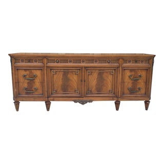 1967 Vintage Jl Metz French Walnut & Filigree Credenza
