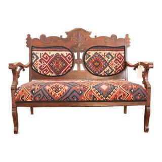 Kilim Upholstered Bench For Sale