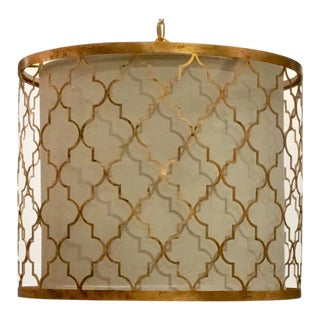 Regina Andrew Modern Gold Leaf Finished Geometric Drum Shade Pendant For Sale