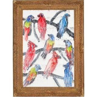 """Bunting"" Original Oil on Wood by Hunt Slonem For Sale"