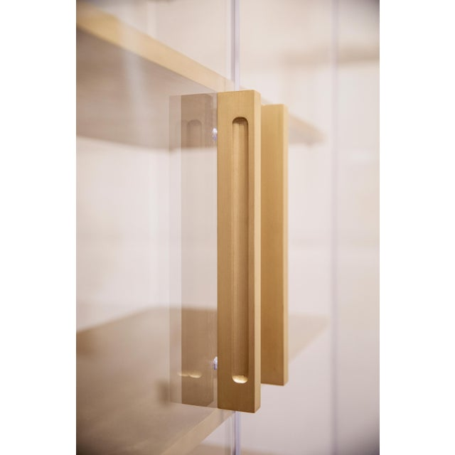 Metal Custom Tall Lucite Cabinet With Brass Shelves For Sale - Image 7 of 13