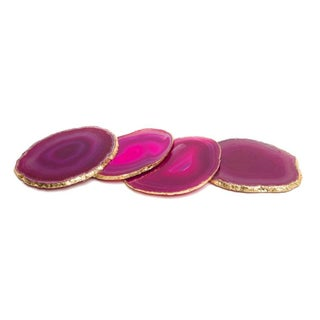 Pink Agate & Gold Leaf Coasters - Set of 4