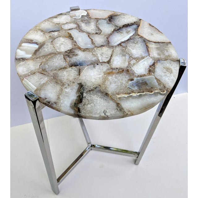 Jonathan Adler Inspired Chrome and Agate Slice Accent Table For Sale In Providence - Image 6 of 13