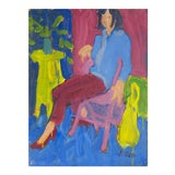Image of Victor DI Gesu, California Post-Impressionist, 'Woman Seated', Louvre, Académie Chaumière, Lacma, Circa 1955 For Sale