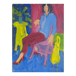'Woman Seated' by Victor DI Gesu; 1955, Paris, Louvre, Académie Chaumière, California Post-Impressionist, Sfaa For Sale