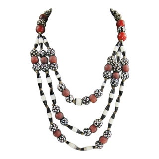 Boho Chic Tribal Statement Necklace For Sale