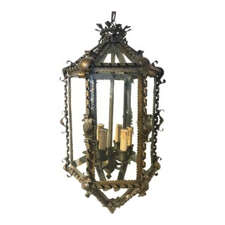 French Six-Sided Brass Hanging Lantern