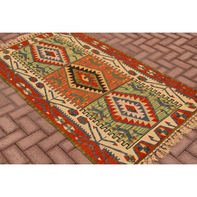 "Islamic Turkish Handmade Anatolian Kilim Wool Rug - 3'7"" X 6'2"" For Sale - Image 3 of 6"