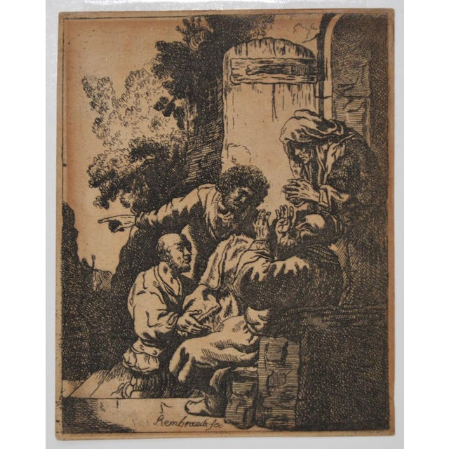 """""""Joseph's Coat Brought to Jacob"""" After Rembrandt Etching in Reverse 18th to 19th C. For Sale In San Francisco - Image 6 of 6"""