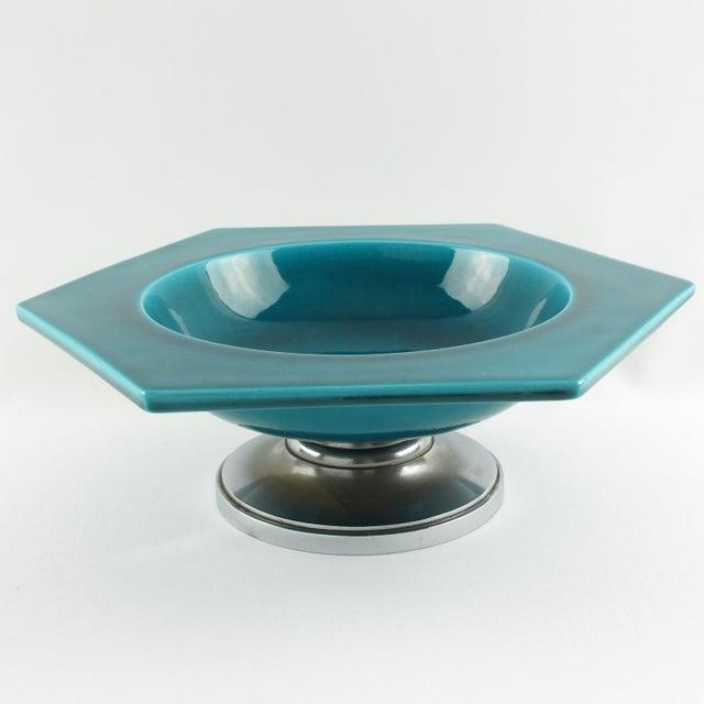 Art Deco Paul Milet for Sevres Art Deco Turquoise Ceramic Bowl For Sale - Image 3 of 9