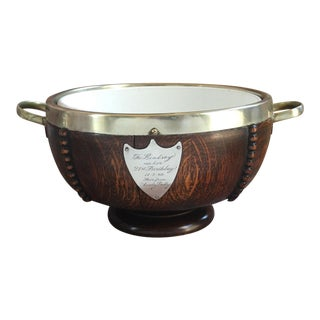 Antique English Tiger Oak Wood Serving Bowl 21st Birthday Trophy Silverplate For Sale