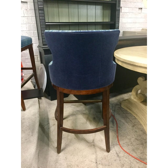 Traditional Century Furniture Plaid Barstool For Sale - Image 3 of 4
