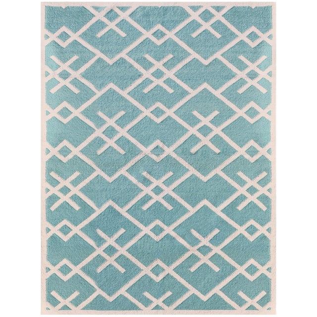 Zara Patterned Aqua Flat-Weave Rug 8'x10' For Sale - Image 4 of 4