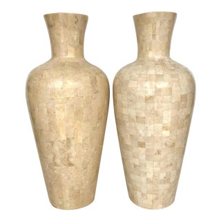 Casa Bique Tessellated Fossil Stone Vases - A Pair