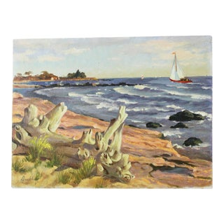 """""""Beach With Sailboat"""" Oil Painting by Frederick Buchholz For Sale"""