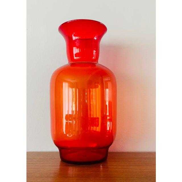 1970s Blenko Tangerine Orange Floor Vase Scarce Oversized - # 7048 For Sale - Image 5 of 13