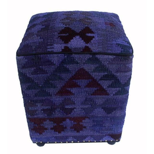 Arshs Delsie Purple/Drk. Gray Kilim Upholstered Handmade Ottoman For Sale - Image 4 of 8