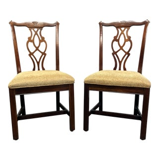Chippendale Straight Leg Solid Cherry Dining Side Chairs by Cresent - Pair 2 For Sale