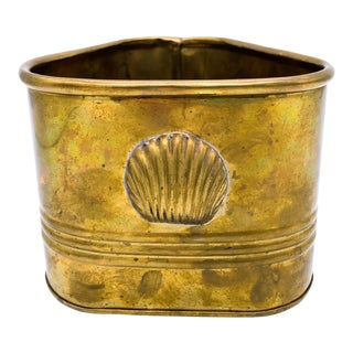 Vintage Triangle Brass Shell Planter For Sale