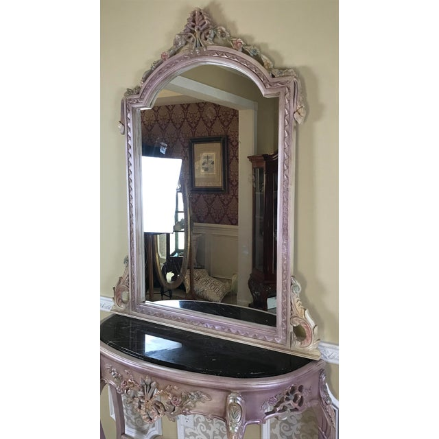 Beech Louis XV Beech Wood Console Table & Mirror For Sale - Image 7 of 8