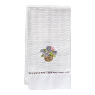 Pink Hydrangea Basket Guest Towel White Waffle Weave, Ladder Lace, Embroidered For Sale