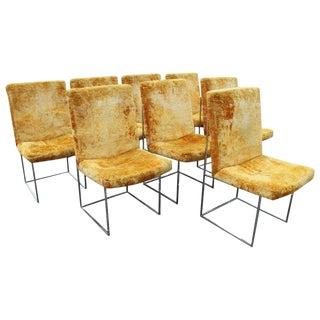 1970s Mid Century Modern Milo Baughman for Thayer Coggin Velvet Dining Chairs - Set of 8