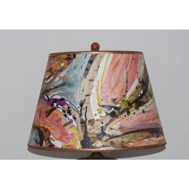 Tortoise Glaze Lamp W/Hand Painted Lampshade - Image 3 of 5