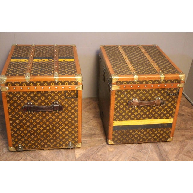 Very rare matching pair of Louis Vuitton trunks in the very sought after shape. All stencilled monograms. Lozine trim,...