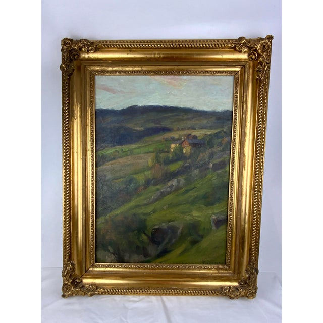 19th Century Plein Air Landscape by Fredrik Borgen, Framed Oil Painting For Sale - Image 12 of 13