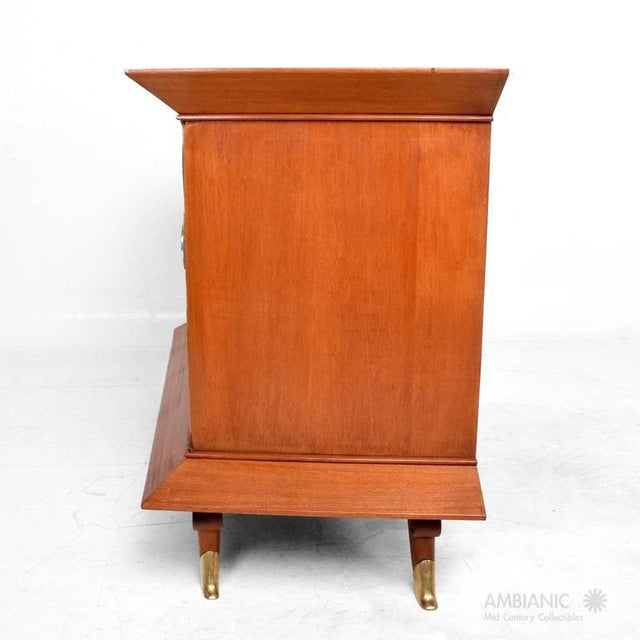 Brown Mexican Modernist Cabinet With Parchment Doors For Sale - Image 8 of 10