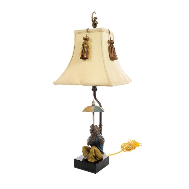 Gothic Monkeys Holding an Umbrella -Beautiful Vintage Table Lamps-A Pair For Sale - Image 3 of 10