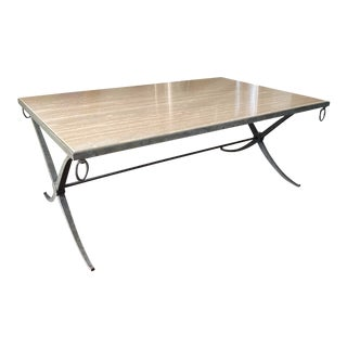 Barbara Barry Iron and Travertine Cocktail Table For Sale