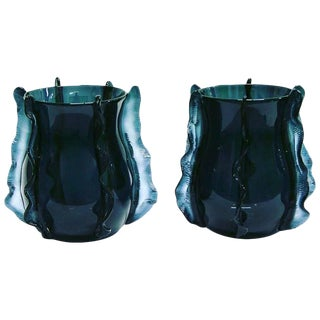 Formia 2009 Italian Pair of Organic Avio Blue Murano Glass Modern Vases For Sale
