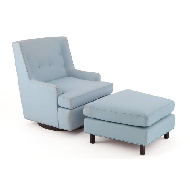Fabulous Edward Wormley for Dunbar lounge chair and ottoman, circa late 1950s. This example has its original powder blue...
