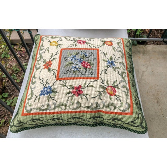 Beautiful Chinese wool needlepoint pillow featuring a fruit and floral pattern with lip cord trim. Reverse is green cotton...