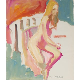 Alysanne McGaffey Colorful Seated Nude Figure With Turquoise Pink Red & Orange, Distemper Drawing 1950-1960s Preview