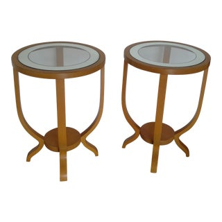 Art Deco Mid-Century Glass Top Side Tables - A Pair