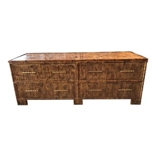 Vintage Split Bamboo Credenza Sideboard Tv Console For Sale