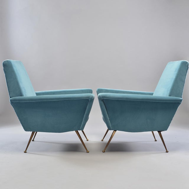 1960s Mid-Century Italian Arm Chairs With New Sky Blue Upholstery - a Pair For Sale - Image 5 of 11